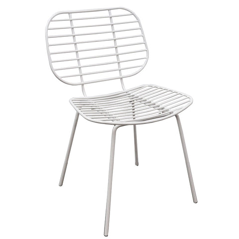 Akita White Wire Slat Modern Geometric Dining Chair