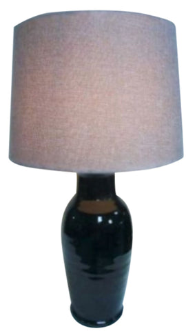 Mexican Ceramic Handmade Lamp Base With Linen Shade (Jet Black)