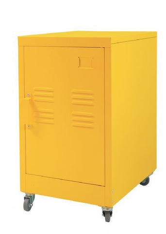 Industrial Bedside Table / Office Storage Unit With Wheels (Yellow)