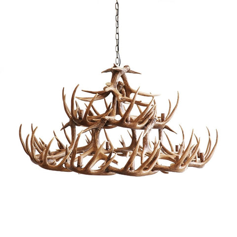 Alpine Rustic Chic Faux Antler Chandelier 18 Lights 1.2m