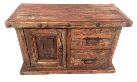 Authentic Solid Wood TV Cabinet / Entertainment Unit Sideboard Iron & Rustic Wood