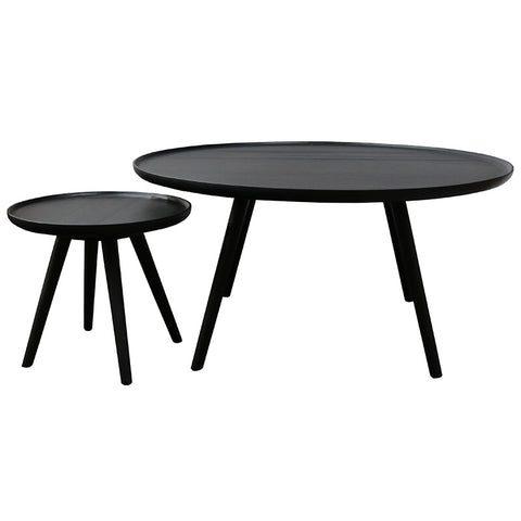 Campinas Vintage Black Wood Styled Coffee Table Set