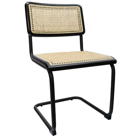 Dustin Dining Chair Stylish Black Metal & Rattan