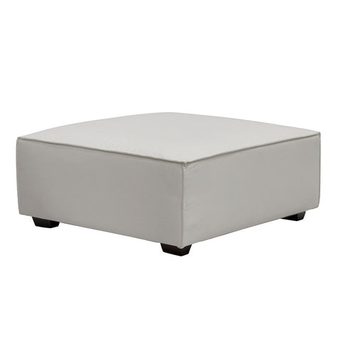 Felix White Fabric Large Ottoman - Modern Hamptons Chic