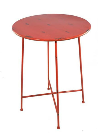 Industrial Side Table / Bistro Table Shabby Chic Metal (Red)