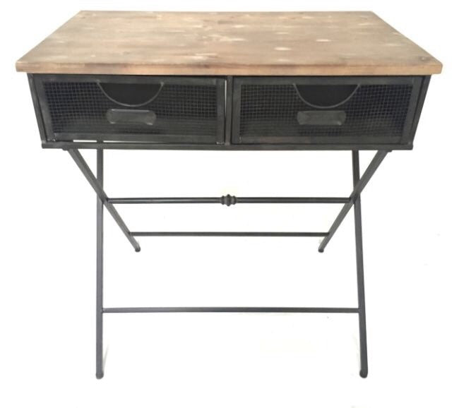 industrial metal furniture. Industrial Metal \u0026 Wood Shabby Chic Side Table Desk With Drawers - Office Furniture