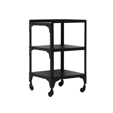 Bank Industrial Chic Iron 3 Tier Side Table Cart on Castor Wheels