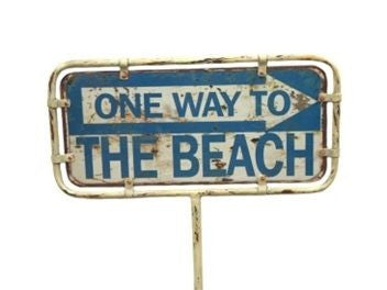 "Rustic Metal ""BEACH"" Direction Sign Garden Stake"