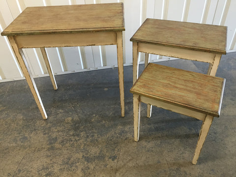 French Country Villa Hall Table Distressed Wood x3