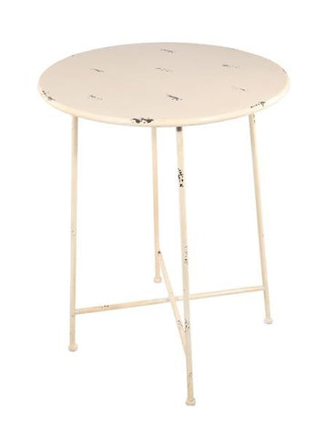 Industrial Side Table / Bistro Table Shabby Chic Metal (White)