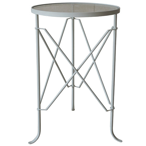 White Toulouse Villa Iron & Glass Side Table