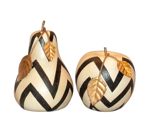 Lovely Apple & Pear Shabby Chic Shelf Ornaments - Chevron Pattern - Home of Temptations Interior Design Furniture Decor & Gifts http://www.hotdesign.co.nz