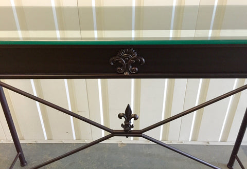 French Country Villa Hall Table Iron Fleur De Lys