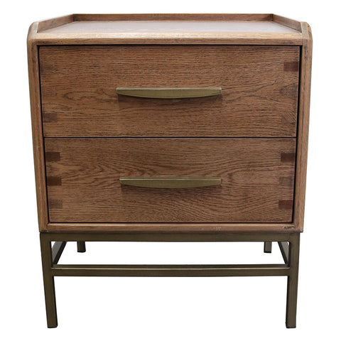 Carlton Bedside Table / Side Table Chic Oak Wood & Iron