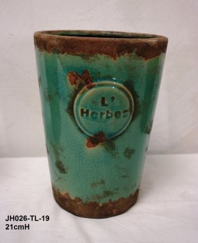 "Mexican ""L'Herbes"" Ceramic Herb Pot Hand Made (Teal)"