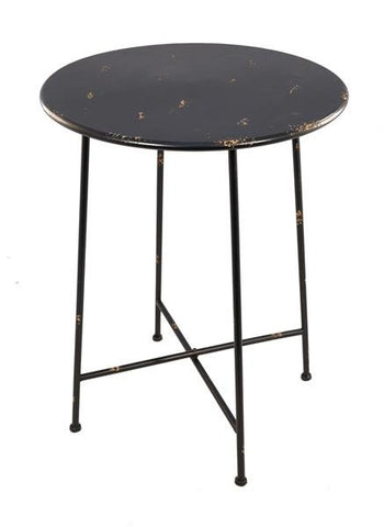 Industrial Side Table / Bistro Table Shabby Chic Metal (Black)
