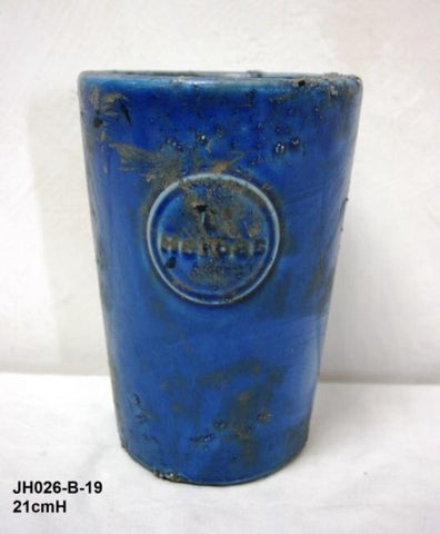 "Mexican ""L'Herbes"" Ceramic Herb Pot Hand Made (Cobalt Blue)"