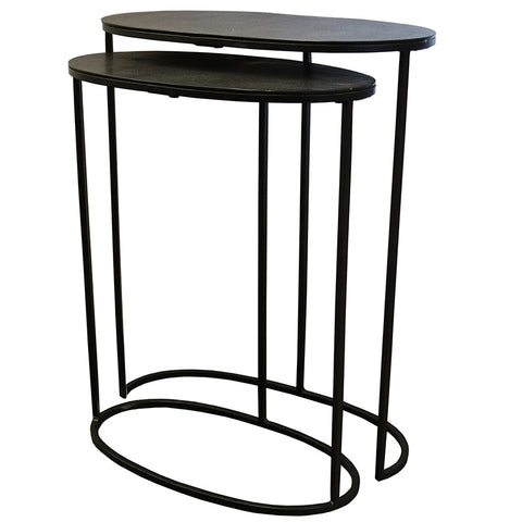 Soca Black Aluminium Geometric Side Table Nesting Table Set