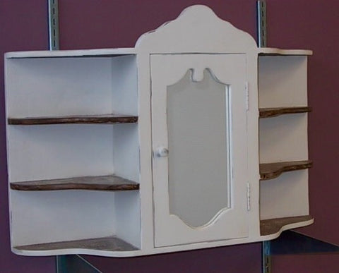 French Country Chic Medicine Cabinet Shelf & Mirror Wall Unit Shabby Chic Distressed Wood