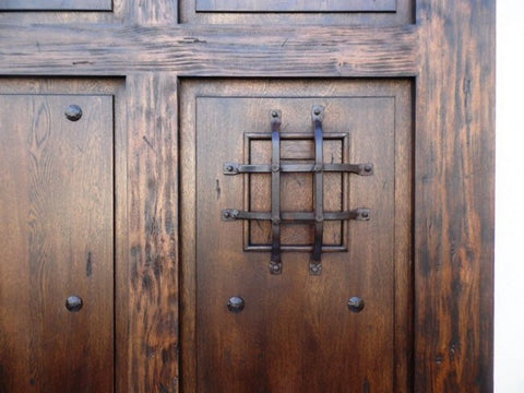 "Exterior ""Ancestro"" Front Door Authetic Rustic Mexican Wood & Hand Forged Iron Security Viewer"