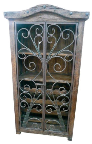 Armoire Bar Wine Rack With Serville Doors Hand Forged Iron & Rustic Wood