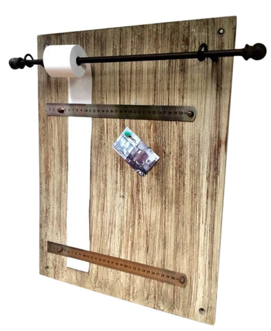 Memo / Noticeboard Whitewashed Wall Art Wood & Iron - Rustic Chic Style