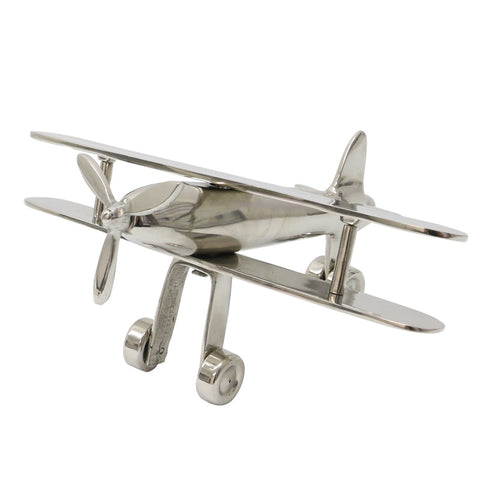 Bi-Plane Nickel Coloured Aluminium Decorative Showpiece Ornament