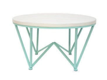 Geometric Mint Metal Villa Coffee Table White Washed Wood Veneer Top