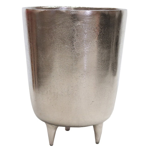 Aluminium Silver Tripod Pot Decorative Showpiece Ornament