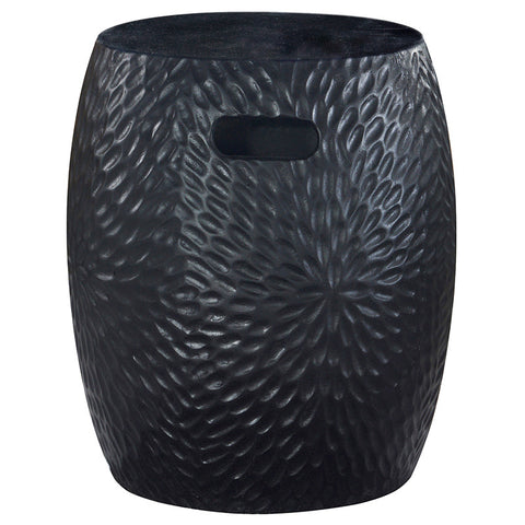 Florial Textured Black Side Table / Seat Stool / Foot Stool