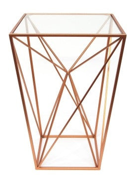 ... Geometric Copper Alcove Table Metal With Glass Top ...