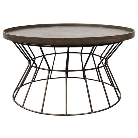 Grenada Iron & Dark Wood Motif Coffee Table