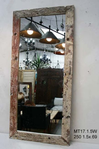 White Washed Authentic Aged Wood Mirror XL - Rustic Character Piece