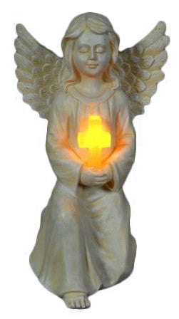 Angel With Cross LED Solar Light Outdoor Ornament