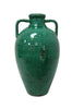 Double Handled Classical Italian Ceramic Urn With Teal Glaze