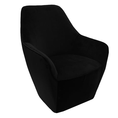 Baron Black Velvet Lounge Chair Armchair