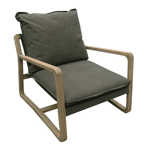 Acer Army Green Relaxed Luxury Oak & Cotton Lounge Chair