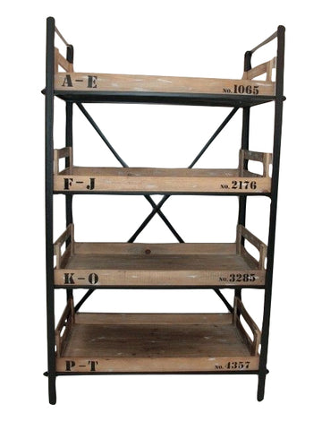 Industrial metal wood shabby chic office butlers pantry for Metal pantry shelving units
