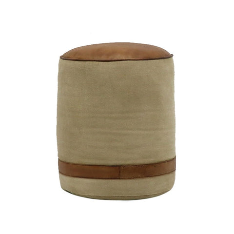 Chandri Leather & Canvas Pouf Stool / Seat