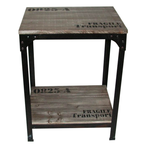 IRON RUSTIC WOOD SIDE TABLE / BEDSIDE TABLE INDUSTRIAL CHIC
