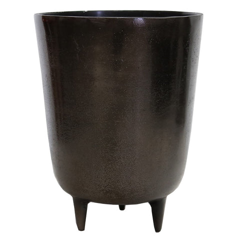 Aluminium Smoke Black Tripod Pot Decorative Showpiece Ornament