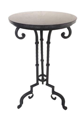 Ornate Iron Side Table / Alcove Table With Granite Stone Top