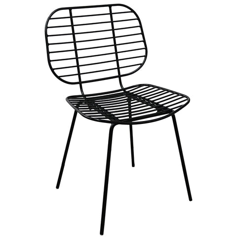 Akita Black Wire Slat Modern Geometric Dining Chair