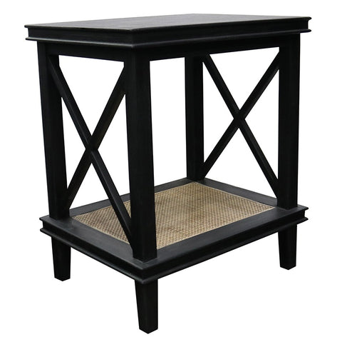 Antique Black Kelvin Wood & Woven Rattan Bedside Table / Side Table - French Country Chic