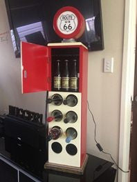 Route 66 Petrol Pump Bowser Wine & Beer Rack With Light Up Globe