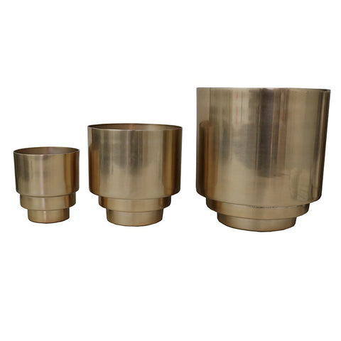 Brass Coloured Aluminium Planter Pots Decorative Showpiece Ornaments