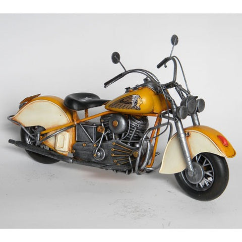 Indian Motorcycle Vintage Styled Model Replica Ornament (Yellow)