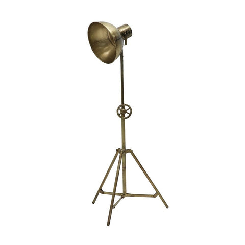 Brass Chandri Tripod Industrial Chic Studio Light Style Floor Lamp Light - Rustic