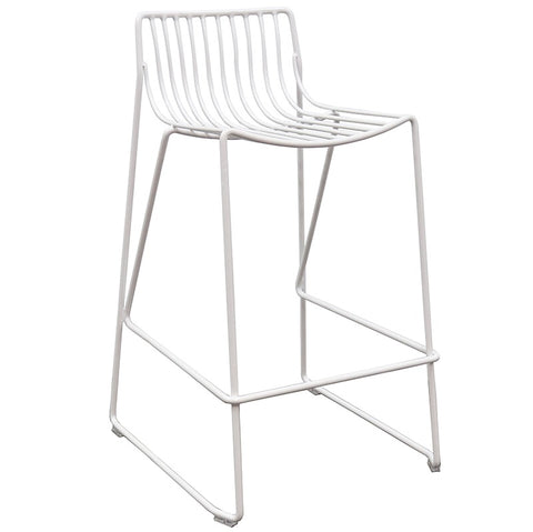 Wire Sling White Akita Modern Geometric Counter Stool / Bar Stool Barstool