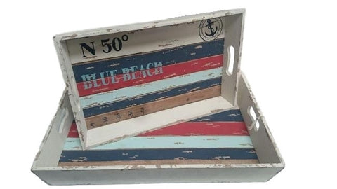 Shabby Chic Beach Themed Decorative or Outdoor Entertaining Serving Trays (Set of 2)